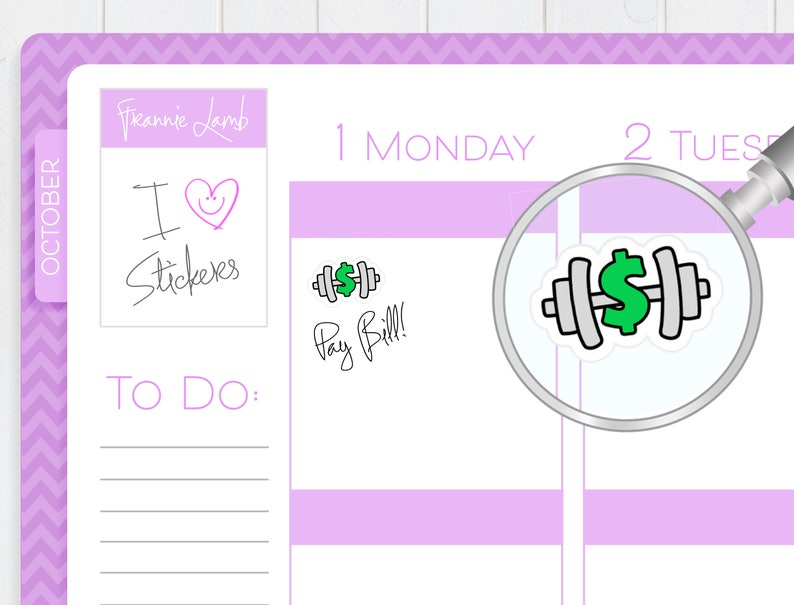 Gym Payment Stickers Bill Reminder Stickers for Planners and image 0