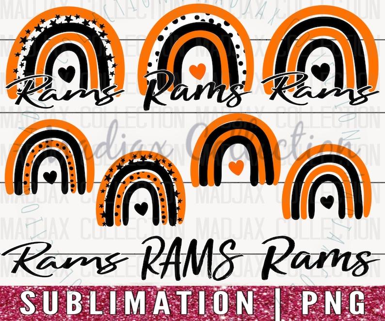 Sublimation PNG Team Spirit Shirt Design 12 Files Bundle Rams Rainbow Orange /& Black Commercial Use Cute Mom Shirt Teacher Clipart