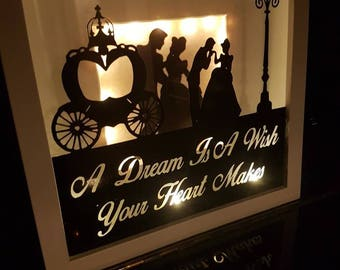 Hand Made Disney Cinderella  Light Up Shadow Box Frame. A Dream is a Wish your Heart Makes