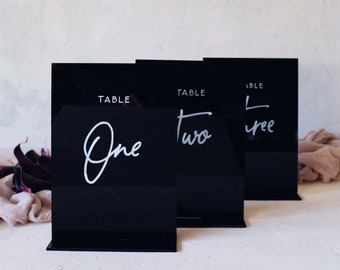 Modern Wedding Table Numbers. Acrylic Table Number Signs. Event Decoration. Table Decoration. Perspex Wedding Signage.