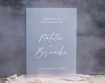 Frost Acrylic Welcome Sign. Frosted Acrylic Welcome Wedding Sign. Wedding Sign. Wedding Ceremony Signage. Calligraphy Sign