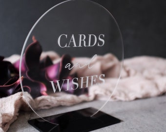 Cards And Wishes Wedding Sign. Acrylic Round Wedding Signage. Gift Table Sign. Wedding Decor. Perspex Wedding Signs.