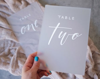 Frosted Acrylic Table Numbers. Wedding Table Number. Table Decor. Wedding Calligraphy Table Number. Event Signage. Wedding Signs. Numbers.