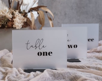 Frosted Acrylic Table Numbers With Base. Frost Acrylic Wedding Number Signs. Modern Table Numbers. Event Table Signs. Table Signage.