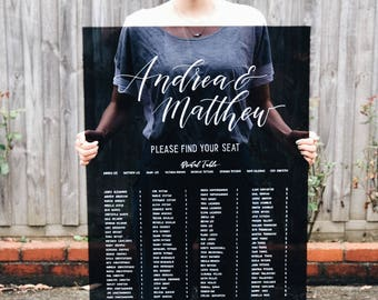 Black Table Seating Sign. Acrylic Wedding Sign. Unique Seating Chart Signage. Wedding Decor. Perspex Signs. Table Arrangement. Guest Signs.