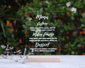 Acrylic Wedding Menu. Calligraphy Menu. Lucite Event Menu. Wedding Signs. Perspex Menu. Function Menu. Wedding Table Decor.