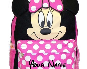 3cfde0ecd1b Personalized Monogrammed Disney Minnie Mouse Pink Polka Dot Back to School  Backpack Book Bag Tote with Embroidery for Girls 16 Inch