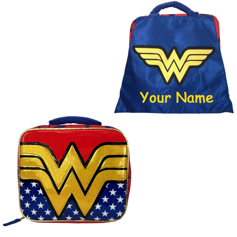 1df61369a77f Personalized Monogrammed DC Comic Wonder Woman Back to School Insulated  Lunchbox Lunch Bag with Detachable Cape with Custom Name