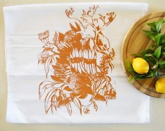 Antique wildflowers cotton tea towel