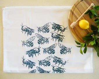 Blue banded bee cotton tea towel
