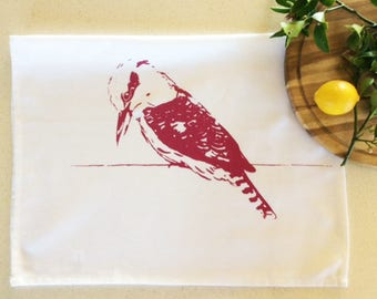 Kookaburra on wire cotton tea towel