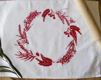 Native Christmas wreath tea towel - handprinted, premium cotton, christmas tea towel, christmas day, christmas gift, housewarming, Australia