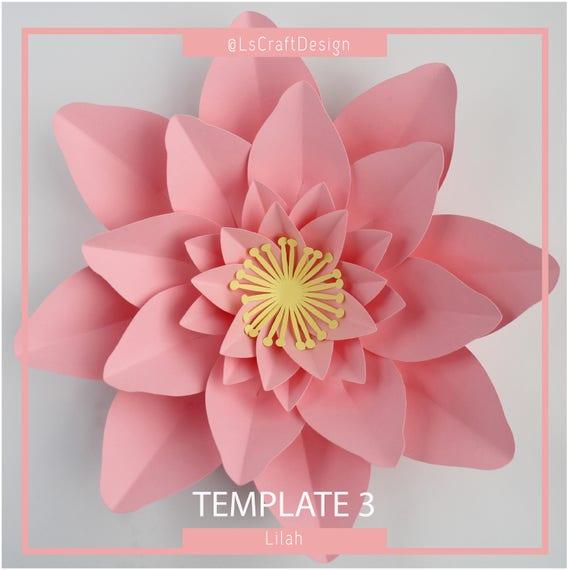 paper flower template pdf paper flower diy paper flower etsy