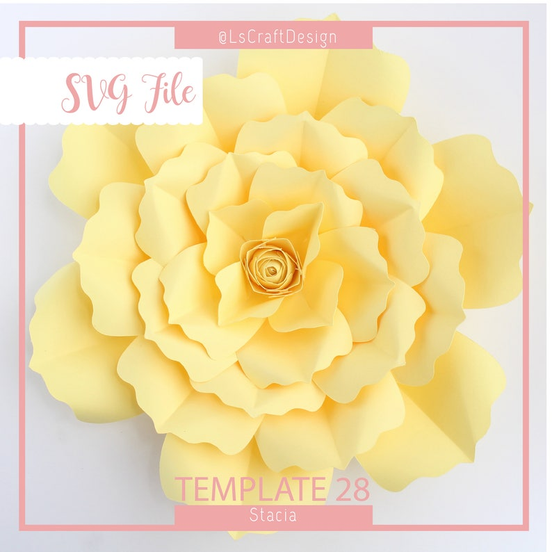 Svg Paper Flower Template Giant Paper Flower Templates Digital Paper Flower Cricut And Silhouette Ready Base Including