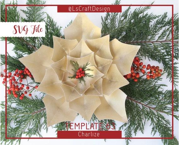 Giant Paper Flower Svg Paper Flower Template Christmas Etsy