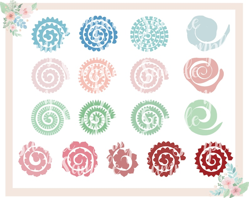 17 Rolled Paper Flowers Svg Cut Files Paper Flowers Bundle Mini Diy Origami Paper Flowers Cricut And Silhouette Ready