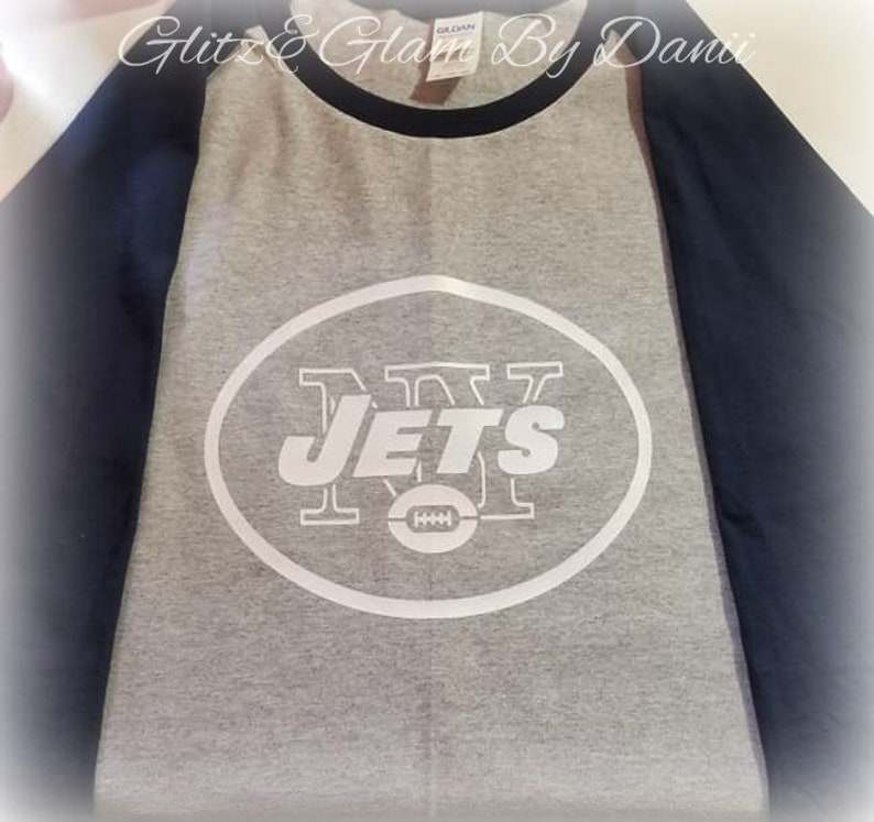 5dec52b87 NY JETS Raglan Tshirt Jets T shirt Gifts for him football | Etsy