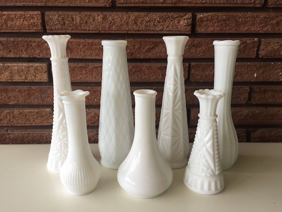 Vintage White Milk Glass Vases Etsy