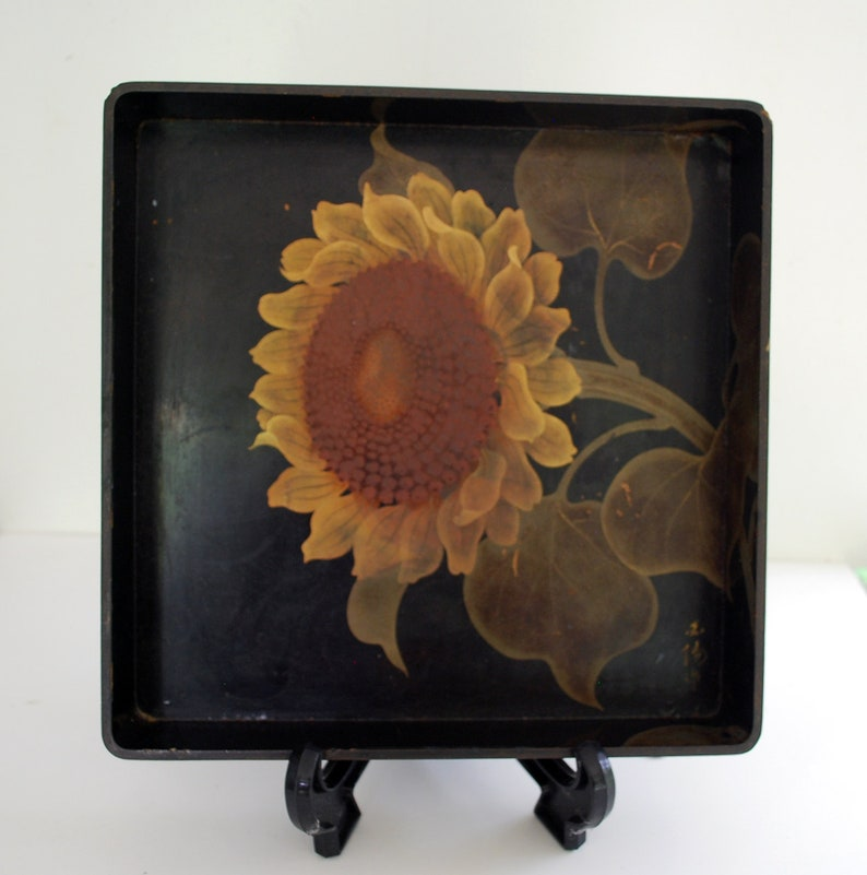 Japanese Lacquer Signed Antique Tray with Sunflower