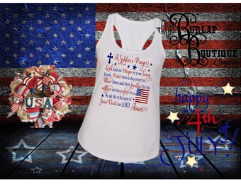 Handmade July 4th Independence Day A Soldier's Prayer Racerback Tank Tops Sizes S - 2XL Women Toddlers Youth Size Available