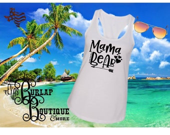 Handmade Mama Bear Next Level Racerback tank Top Size XS - 2X several colors Available