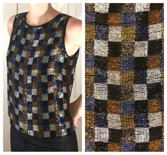 Vintage 90s Checkered Beaded Sleeveless Top // Nit