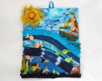 Mixed media Wall Art/Wall Decor/ Handmade/Recycled/Fabric/Eco Friendly/One of A Kind/Gift/Housewarming/Kids Room/Nautical/Island/Handmade