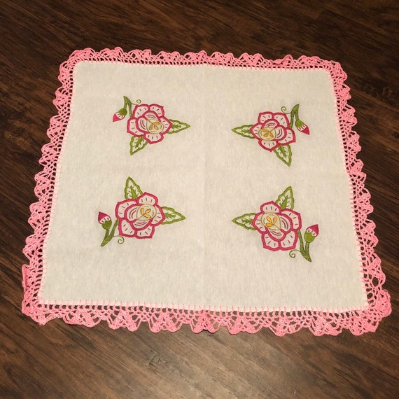 Vintage Inspired Handmade Table Linen napkin tablecloth Tortilla warmer pink rose embroidery design and pink crochet trim