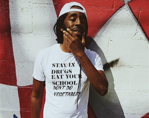 E/D STAY IN DRUGS -White- Logo Tee
