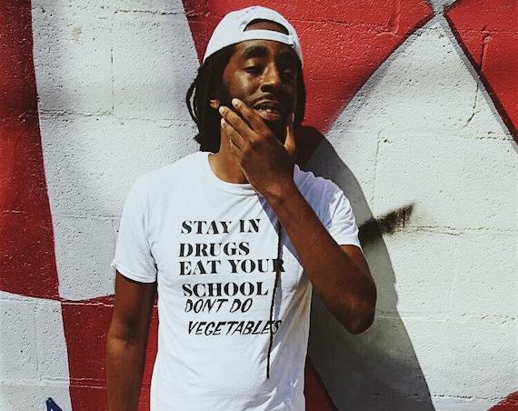 E/D STAY IN DRUGS -White- Logo Tee