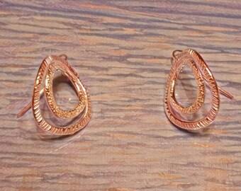 Burst Pattern Pure Silver Double Hoop Earrings