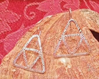 Burst Pattern Pure Silver Triforce Earrings