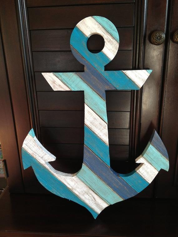 Anchor Rustic Coastal Decor Reclaimed Wood Nautical Beach Decor 45 Degree Left