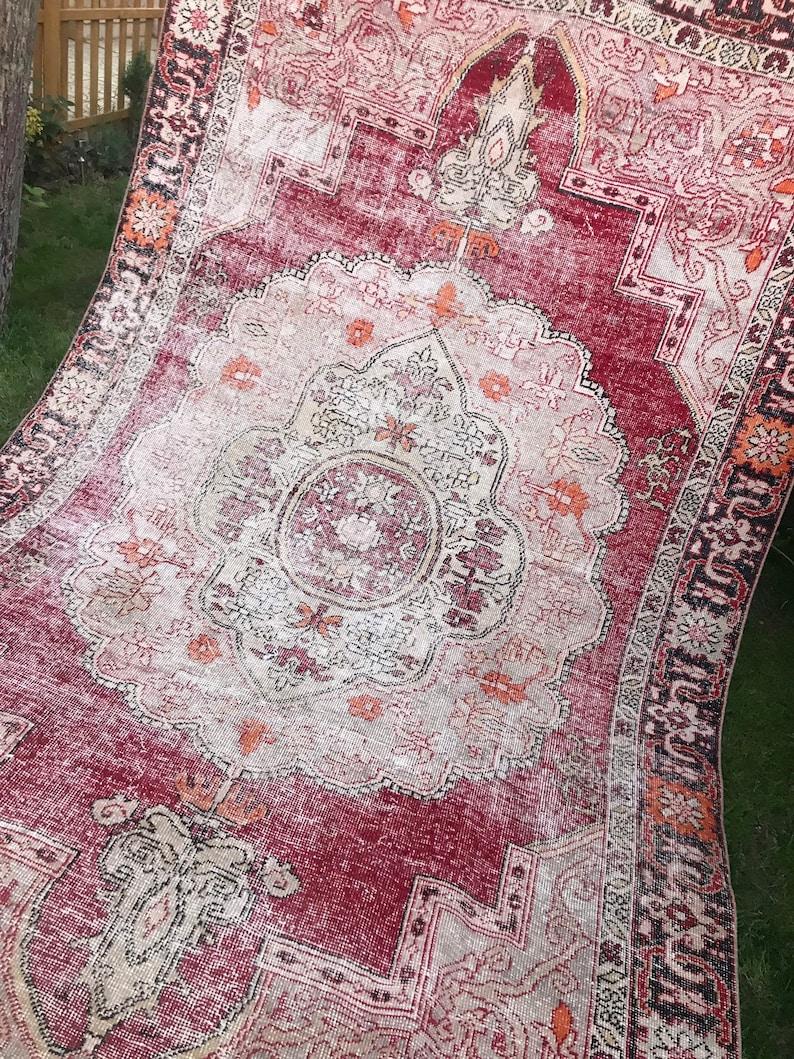 71x117.Large Rug Distressed Antique Oushak Rug Oushak image 0