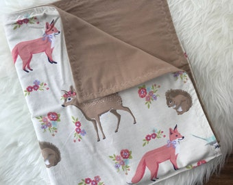 Woodland Baby blanket, Deer Blanket, Swaddle Blanket, Stroller Blanket, Nursery Bedding, Baby Shower Gift, Newborn Blanket, Baby Girl