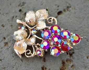 Vintage Brooch Aurora Crystal Brooch Wedding Gift Crystal Brooch Brooch Vintage Bridesmaid Gift Gifts for Her Tassel Brooch Brooch