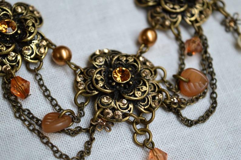 Edwardian Style Necklace Crystal Necklace Pearl Necklace Necklace Tassel Necklace Gifts for Her Floral Necklace Vintage Jewelry