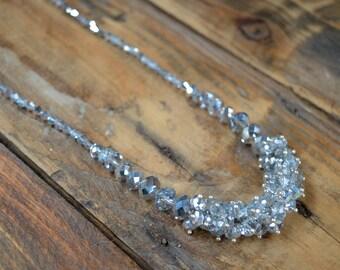 Crystal Necklace, Vintage Necklace, Cluster Necklace, Beaded Necklace, Necklace, Crystal Jewelry, Gifts for Her, Wedding Gift