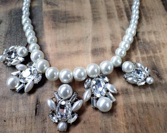 Vintage Necklace, Pearl Necklace, Crystal Necklace, Cluster Necklace, Pearl Collar, Crystal Collar, Collar, Vintage Jewelry, Gifts for Her