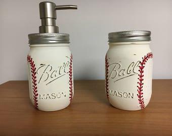 Charmant Basball Soap Dispenser, Baseball Toothbrush Holder, Rustic Decor, Pint Size  Mason Jar, Shabby Chic, Baseball, Home Decor, Bathroom Decor