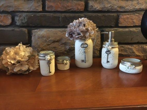 Bathroom Set Bathroom Mason Jar Set Soap Dispenser Mason | Etsy