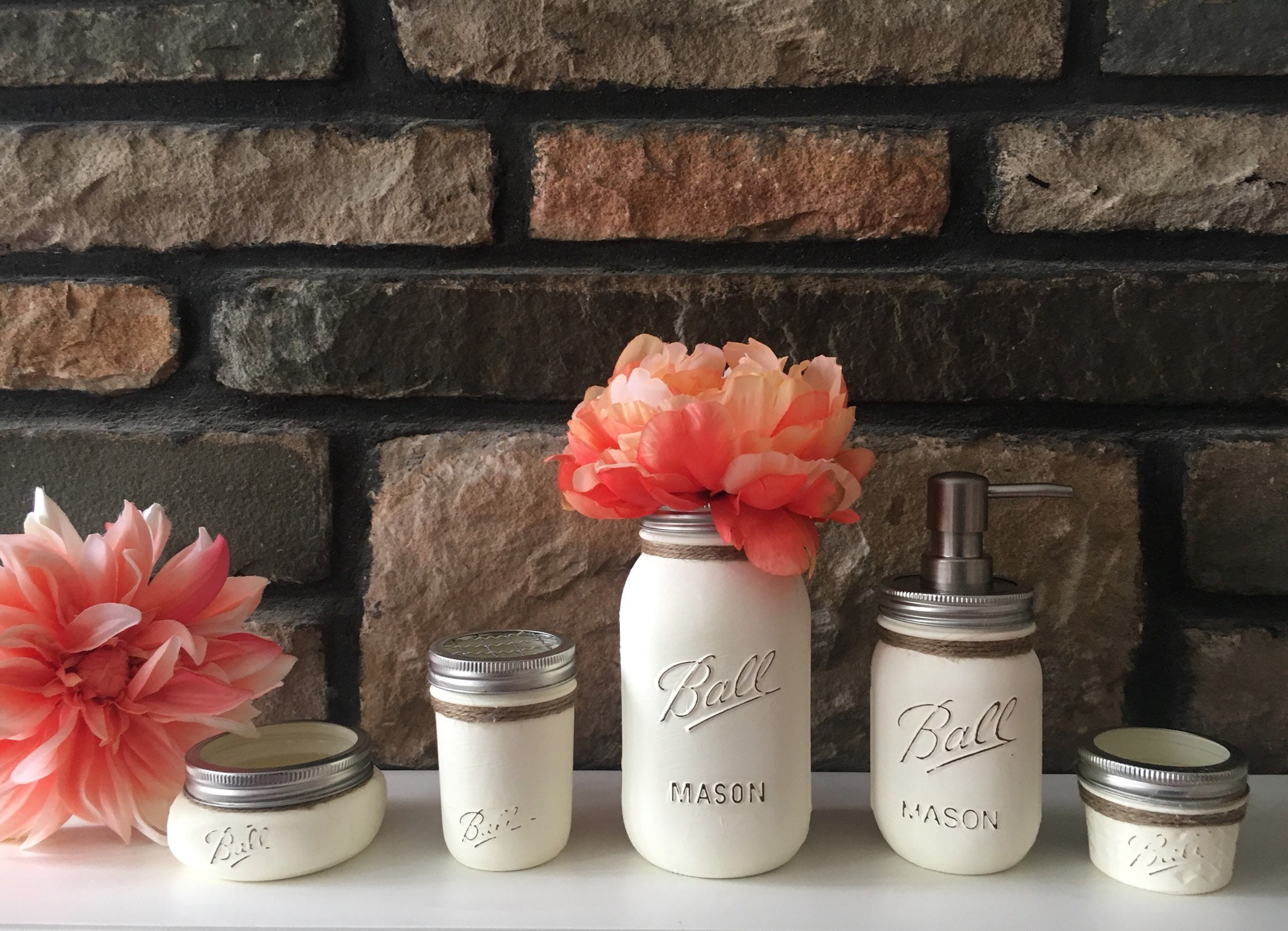 Gentil Bathroom Set Bathroom Mason Jar Set Soap Dispenser Mason | Etsy