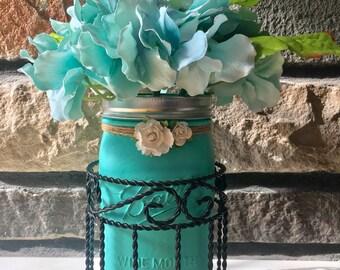 Mason Jar Bathroom, Rustic Decor,  Mason Jars, Mason Jars Centerpieces, Distressed Mason jars, Mason Jars Home Decor, Shabby Chic, Teal