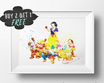 Snow White Wall Art Print Printable, Snow White Poster, Disney Snow White Dwarfs Print, Snow White Art Decor, Disney Princess Wall Art Print