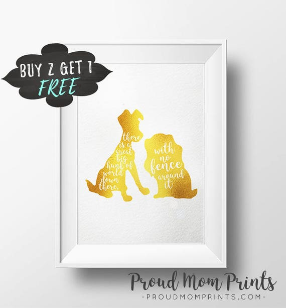 Walt Disney Quote Printable Wall Art Lady And The Tramp Gold