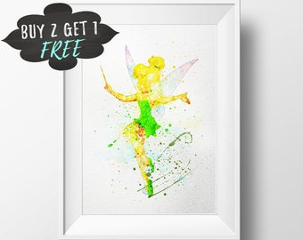 Tinker Bell Art Print Poster, Tinkerbell Peter Pan Wall Art Nursery Decor Printable Watercolor, Fairy Pixie Wall Art, Girl Baby Shower Gifts