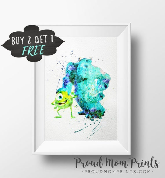 Monsters Inc Wall Art Print Poster Boo Monsters University | Etsy