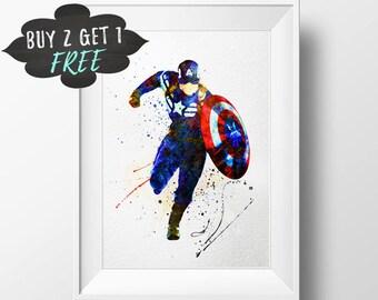 Captain America Art Print Poster The Avengers Wall Nursery Decor Printable Watercolor Marvel Instant Download Superhero