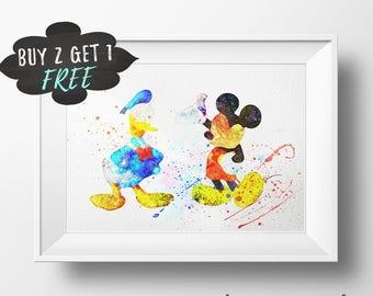 Donald Duck Decor, Donald Duck Print, Donald And Mouse Mickey, Donald Duck Wall Art Print Duck Poster Donald Duck Birthday Party Baby Shower