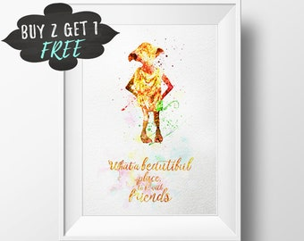 Harry Potter Quote, Dobby Harry Potter Print, Nursery Decor, Wall Art Print Decoration Poster Harry Potter Gift What Beautiful Place Friends